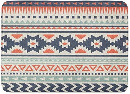 AoLismini Fußmatten Bad Teppiche Outdoor/Indoor Fußmatte blau aztekischen ethnischen Muster rot indianischen geometrischen Peru Streifen Badezimmer Dekor Teppich Badematte