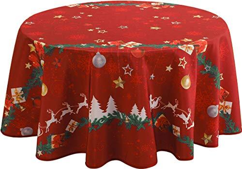 Le linge de Jules Tovaglia Antimacchia Noël Rosso - Rotonda diámetro 160 cm
