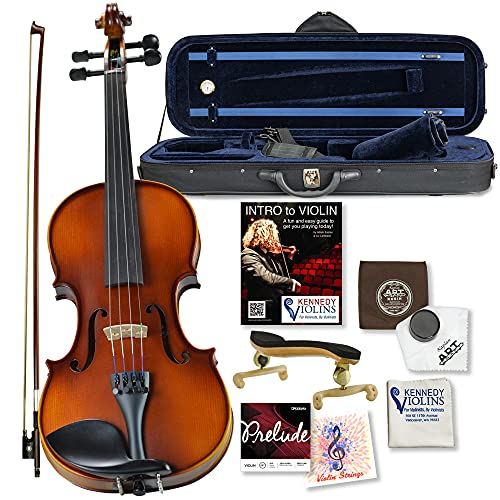 Bunnel G1 Violin Outfit 3/4 Size - Carrying Case and Accessories Included - Highest Quality Solid Maple Wood and Ebony Fittings By Kennedy Violins