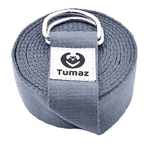 Tumaz Yoga Gurt/Yoga Strap [15+ Farben, 180/240/300 cm] mit Extra Sicherer, Einstellbarer D-Ring-Schnalle, Langlebiger und Bequemer, Zarter Textur – Perfekt für Dehnen und Fitness