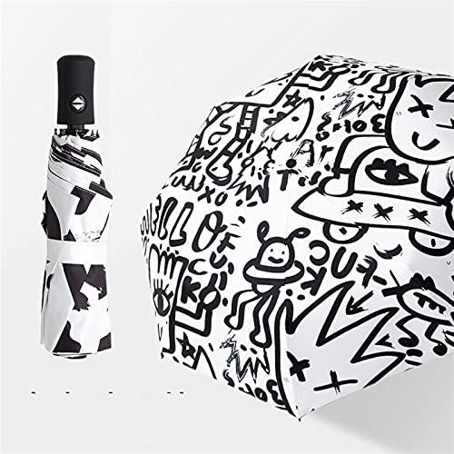 KHAILIUB Sombrilla Paraguas Plegables automáticas Lluvia Mujeres Portátil Anti-UV Parasol Personalidad de los Hombres Graffiti Parapluie Soleado/Parasol lluvioso (Farbe : Black)