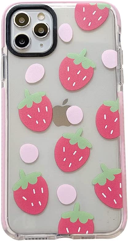 Cute Strawberry Clear Pink Edge Phone Case for iPhone 12 Pro Max Fruit Elements Protective Skin Soft Built-in Bumper Cover for iPhone 12 Pro Max
