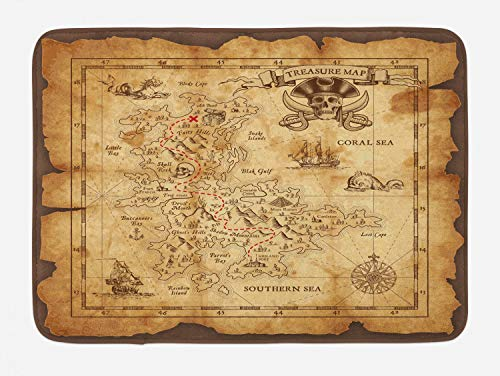 Ambesonne Island Map Bath Mat, Super Detailed Treasure Map Grungy Rustic Pirates Gold Secret Sea History Theme, Plush Bathroom Decor Mat with Non Slip Backing, 29.5 W X 17.5 W Inches, Beige Brown