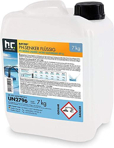 Höfer Chemie 4 x 7 kg pH Senker flüssig zur Senkung des pH Werts im Pool - pH Minus für Schwimmbad und Spa
