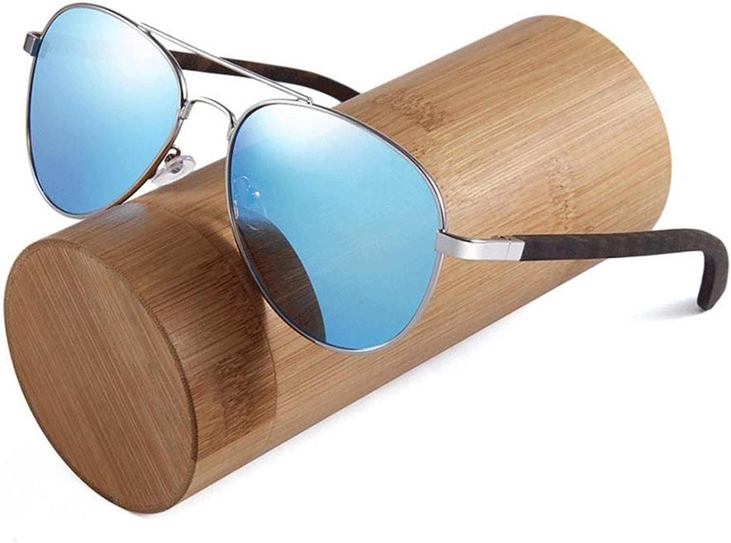 Wood Sunglasses Polarized for Men and Women Blocking 100% UV Sunglasses (color   blueee1, Size   Casual Size)