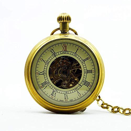 J-Love Reloj de Bolsillo mecánico de Cuerda Manual para Hombre Esqueleto analógico Tipo Oro