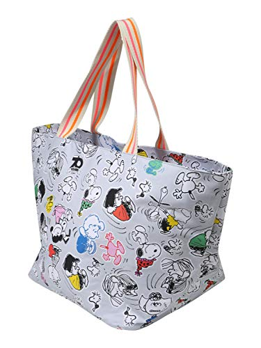 CODELLO Damen X Tasche groß | Einkaufstasche | Shopper Bag PEANUTS Edition mit Snoopy & Co. aus Canvas, Grey, Einheitsgröße