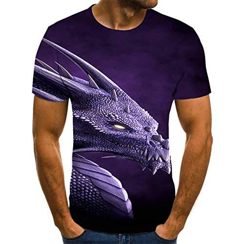 N /A T-Shirt da Uomo T-Shirt con Stampa 3D Uomo/Donna Hip Hop Streetwear Anni 80/90 Ragazzi Vestiti Fantastici Uomo personalità Cool XL Light Purple
