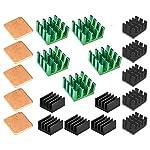 Easycargo 20pcs Raspberry Pi 4 Heatsink Kit Aluminum + Copper + 3M 8810 Thermal Conductive Adhesive Tape for Cooling Cooler Raspberry Pi 4, 3B+, 3B, Pi 2, Pi Model B+ (Green (15pcs))