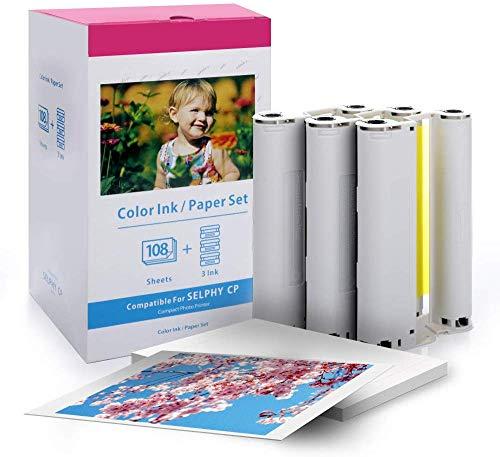 Vervangende Canon Selphy CP1200 CP910 CP1300 inkt en papier, fotopapier KP-108IN 3115B001(AA) Compatibel met Canon Selphy Printer, 108 vellen printerpapier (4 x 6 inch) met 3 inktcartridges