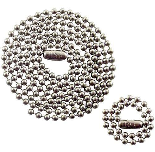Stainless Steel Military Dog Tag Chain Set - 27 inch and 4.5 inch Ball Chains - 2.4mm #3 Size Chain