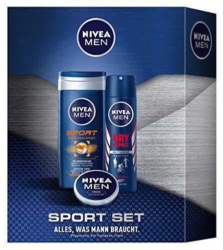 Nivea Men NIVEA MEN Sport Geschenkset, Pflegeset für Männer mit Pflegedusche, Anti-Transpirant und Creme, Geschenkbox für die Pflege nach dem Sport, 3 Set