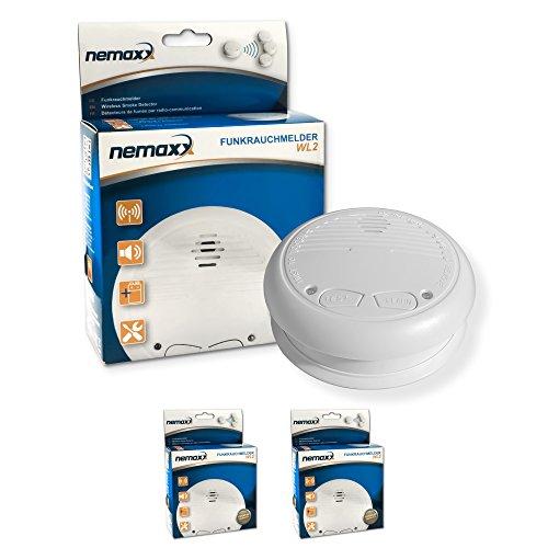 2X Nemaxx WL2 Funkrauchmelder - hochwertiger Rauchmelder Brandmelder Set Funk koppelbar vernetzt - nach DIN EN 14604