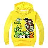 Plants vs.Zombies Pullover Niño Niña suéter Flojo del Deporte Sudaderas con Capucha Divertidas Tapas Impresas Unisex de Manga Larga con Capucha niños y niñas