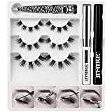 JIMIRE False Eyelashes DIY Kit, 30 Clusters Natural Individual Lashes Fluffy Wispy False Eyelashes Set for Home Eyelash Extensions, C Curl Lashes with Glue and Seal and Applicator (12mm, 14mm, 16mm)