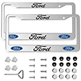 2pcs License Plate Frames for Ford - 2 Holes Premium Chrome Silver Aluminum Alloy Metal Ford Logo License Plate Cover Holder Compatible All Vehicle License Plate Tag Cover
