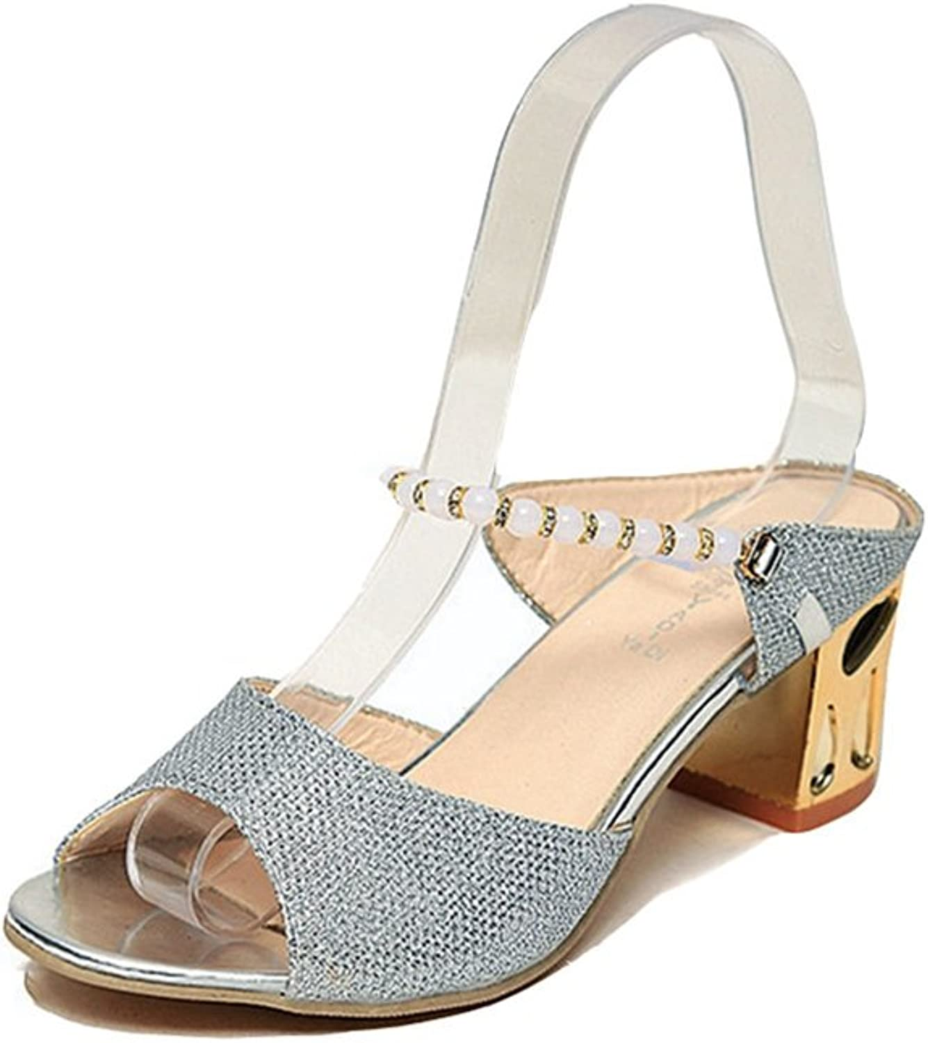 T-JULY Ladies Sparkle Glitter Heels Pearl Chains Peep Toe Sandals for Women Ankle Strap Sexy Slip On Dressy Pumps shoes