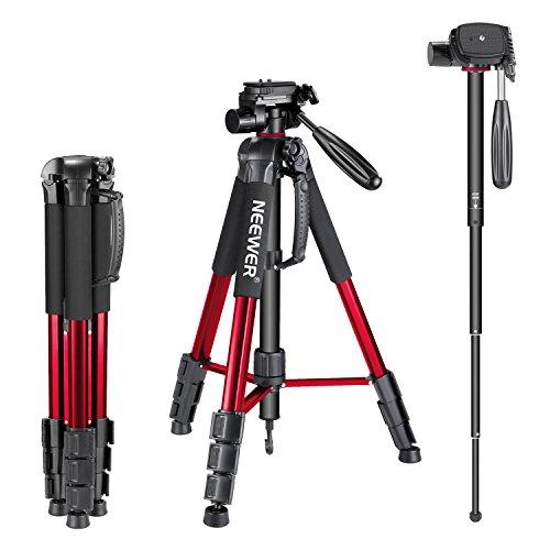 Neewer ポータブルなアルミ合金製三脚 一脚 177cm「赤」 3ウエイ回転雲台とキャリングケース付 耐荷重4kg Canon、Nikon、Sony DSLRカメラ、DVビデオカムコーダに対応