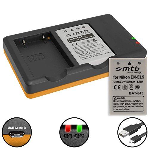 2 Baterías + Cargador Doble (USB) para Nikon EN-EL5 / Coolpix P500, P510, P520, P530,...