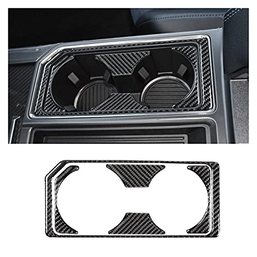 zhuzhu Accesorios para Automóviles Fibra De Carbono Real Cup Agua Agua Panel De Engranajes Interruptor De Luz Cubierta De Ajuste para Ford F-150 2016-2019 (Color Name : Front Cup Cover)