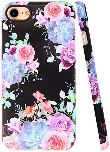 A-Focus Case for iPhone 8 Case Rose, iPhone SE 2 Case, iPhone 7 Case Floral Frosted IMD Design Series Anti Scratch Flexible Slim Fit TPU Silicone Case for iPhone SE / 8/7 4.7 inch Matte Flower Purple