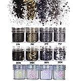 GOTONE Purpurinas Polvo, Brillante Chunky Glitter Flakes paillette para el Rostro, Cara y Cuerpo Maquillaje Decoración para Pelo, Uñas y Mejilla -12 Cajas(Set B)
