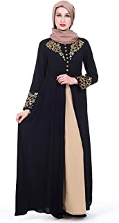 Gold Stamping Long Sleeved Muslim Maxi Dress For Women National Costume Robes Casual Clothes Abaya