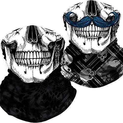 Skull Face Mask Bandana, Motorcycle Face Mask for Men Women, Skeleton Half Face Mask Sun UV Dust Wind Protection Breathable Rave Face Scarf Neck Gaiter for Biker Riding (SNAKE-A001)