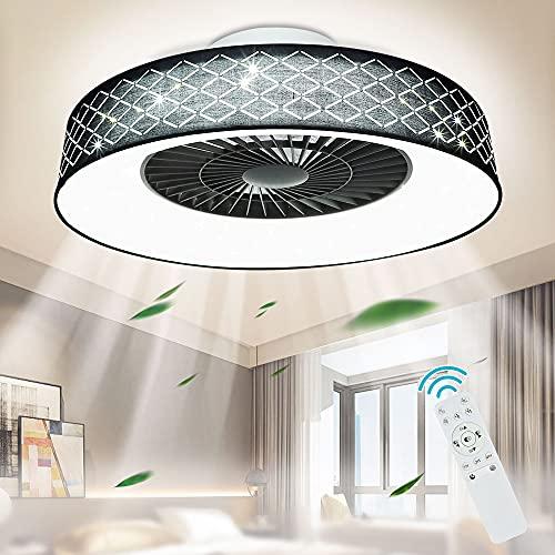 Depuley Ventilador de techo LED con iluminación, ventilador ajustable mando a distancia y temporizador, 40 W, lámpara regulable, invisible para salón, habitación los niños, 3000 K-6500 K