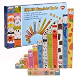 BOHS Wooden Montessori Number Rods - Rainbow Math Concepts Sticks -Addition,Subtraction Calculation Learning ,Preschool Math Toys