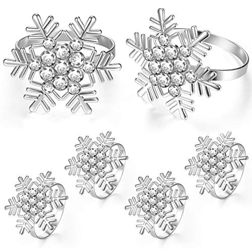 Hicarer Snowflake Napkin Rings Christmas Napkin Rings Holders for Christmas Dinners Parties, Wedding Adornment, Table Decoration Accessories (6)