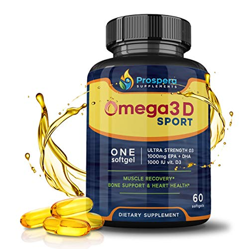 Pure Omega 3 vitamin D formula - More than just Fish Oil - High EPA DHA Omega 3 Fish Oil and Vitamin D3 - Heart and Brain Supplement - Stronger Bones, Workout Endurance. Best for Crossfit - 60 Doses