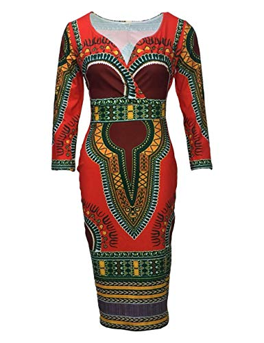YYH Womens jurk Casual V-hals nationale wind jurken XXXL Rood