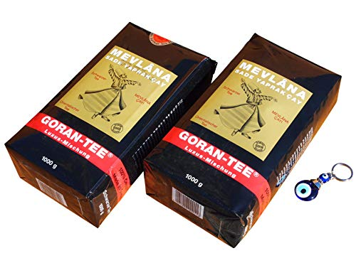 2 x 1000g Mevlana - Goran Tee Luxusmischung - Lüks siyah yaprak cay + Orient-Feinkost Nazar Schlüsselanhänger
