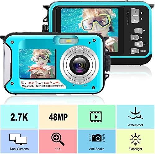 Appareil Photo Etanche 2.7K Appareil Photo Numérique 48 MP Appareil Photo Etanche Double écran LCD Couleur Affiche la Appareil Photo étanche