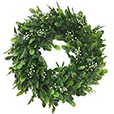 Coxeer Artificial Green Leaves Wreath Greenery Hanging Boxwood Wreath for Front Door Wedding Wall Window Party Décor, Indoor/Outdoor Use (Green 1)