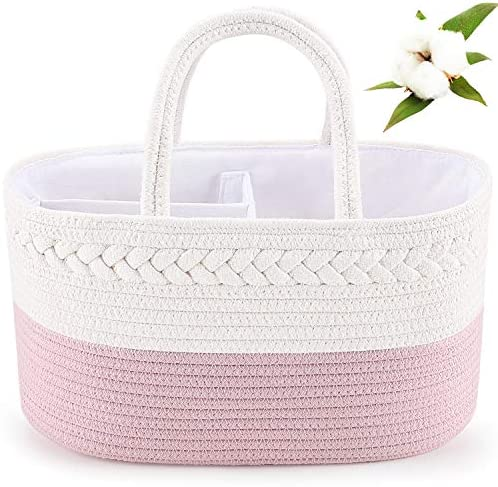 Baby Diaper Caddy Organizer ABenkle Cotton Rope Diaper Storage Basket Portable Baby Caddy Basket product image