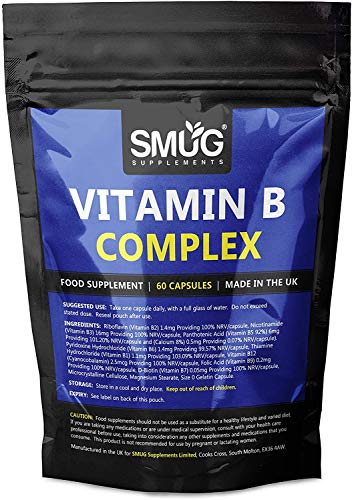 Vitamin B Complex Capsules by SMUG Supplements | UK Made with Vitamin B1, B2, B3, B5, B6, D-Biotin B7, B9 and B12 (120 Capsules - Twin Pack)