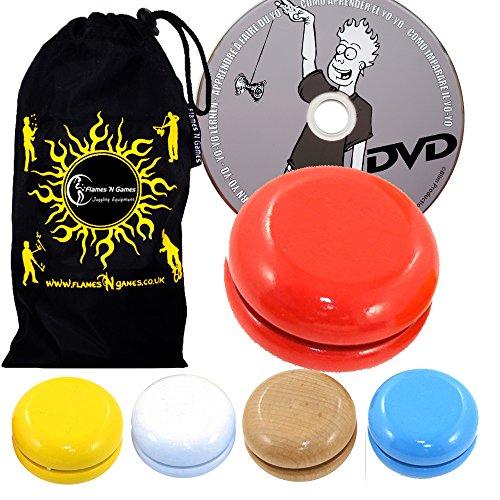 Juggle Dream Basic HÖLZERN YoYo Standard Entry-Level-YoYo Set + Lernen Yo Yo Tricks DVD + Reisetasche! Große KleinYo-Yo für Anfänger und Kinder. (Blau)