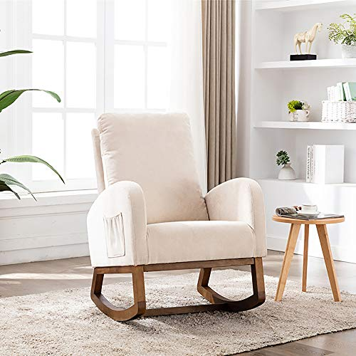 Veryke Modern Accent Armchair Rocking Chair, Mid Century Upholstered Lounge Chair Recliner Single Sofa Chair Recliner Chair Padded Seat with Wood Frame for Living Room, Bedroom (Beige)