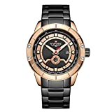 Marca Hombres Correa de Acero Relojdorado Relojde Cuarzo para Hombre Fecha Deporte Relojes de Pulsera Impermeables Relogio Masculino
