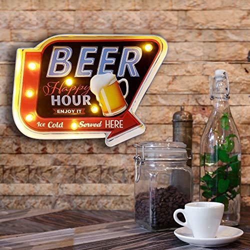 Señales luminosas Lámpara de Cafetería FSVEYL, Estilo Industrial Antiguo Con Artesanía de Pintura de Hierro, Apto Para Decoración de Paredes en Bares, Casas, Cocinas, AlimentadoPor Baterías (Beer)
