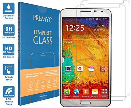 PREMYO 2 Piezas Cristal Templado Protector de Pantalla Compatible con Samsung Galaxy Note 3 Dureza 9H Bordes 2,5D Sin Burbujas contra Arañazos