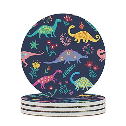Perstonnoli Posavasos redondos de cerámica con diseño de dinosaurios, 4 unidades, 10 cm, color blanco