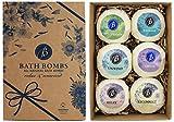 BRUBAKER Bath Bombs Gift Set 'Relax & Unwind' - 6 Handmade Luxury Spa Bath Fizzies - All Natural, Vegan, Organic Ingredients - Macadamia Nut Oil Moisturizes Dry Skin
