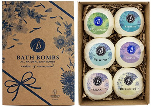 BRUBAKER Bath Bombs Gift Set Relax & Unwind - 6 Handmade Luxury Spa Bath Fizzies - All Natural, Vegan, Organic Ingredients - Macadamia Nut Oil Moisturizes Dry Skin