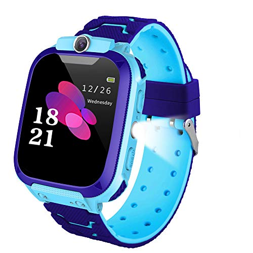 Kids Smart Watches, LBS/GPS Tracker SOS Camera Voice Chat Touch Screen Games Alarm Clock Flashlight Phone Watch for Boys Great Birthday Gift
