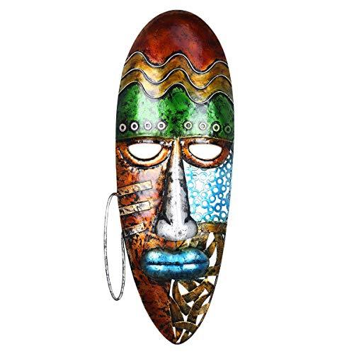 Fesjoy Maschera Africana per Il Viso Art Wall Hanging Maschera di Ferro Decorazione murale Cultura Tribale Africana Arredamento per la casa o Il Giardino Colorato