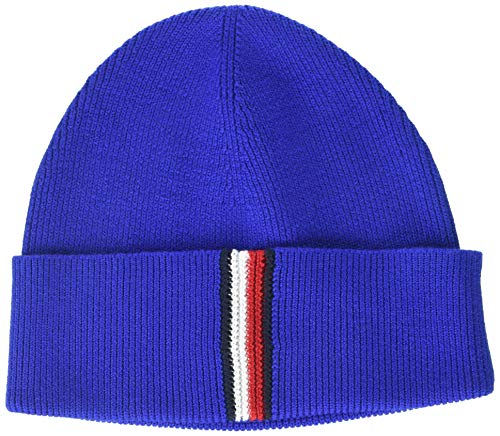 Tommy Hilfiger Herren TH Rib Beanie Strickmütze, Blau (Blue Ckb), One Size (Herstellergröße:OS)