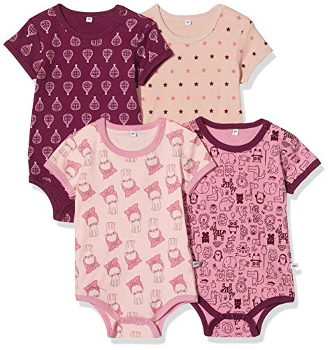 pippi 4er Pack Baby Body mit Aufdruck, Kurzarm, Violeta (Lilac 600), 18 meses para Bebés